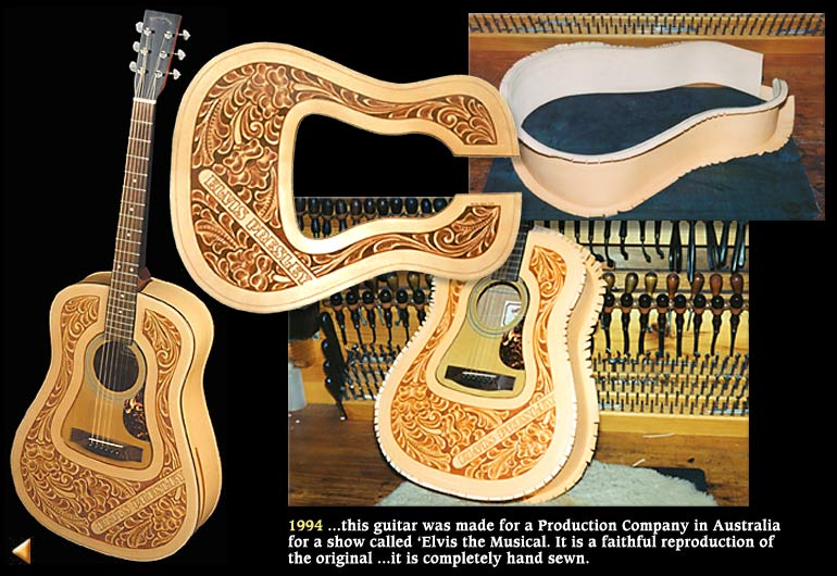 1994 ...this guitar was made for a Production Company in Australia for a show called 'Elvis the Musical. It is a faithful reproduction of the original ...it is completely hand sewn.