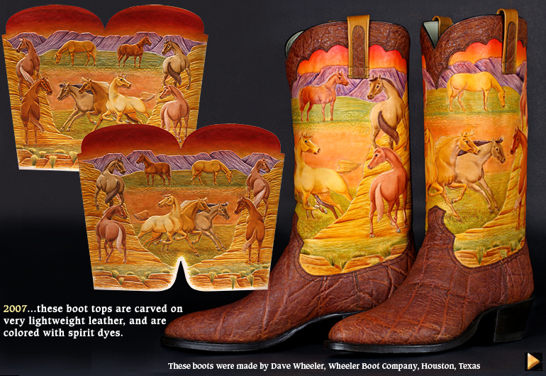 2007...these boot tops are carved on very lightweight leather, and are colored with spirit dyes.